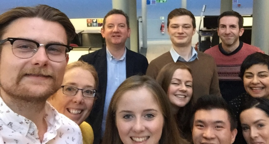Group Selfie - left to right, Gavin Whyte, Prof Hazel Hall, Dr Colin Smith, Caitlyn Adair, Sophie McMillan, Maciej Korpak, Fenton Ho, Steven Ritchie, Marta Stachon, and BSc BIS Leader Jyoti Bhardwaj