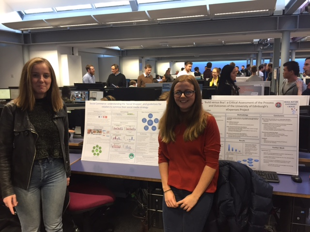 Caitlyn and Sophie in front of their Honours Project posters